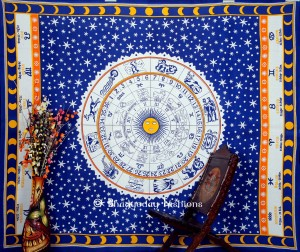Orange Bohemian Astrological Tapestry