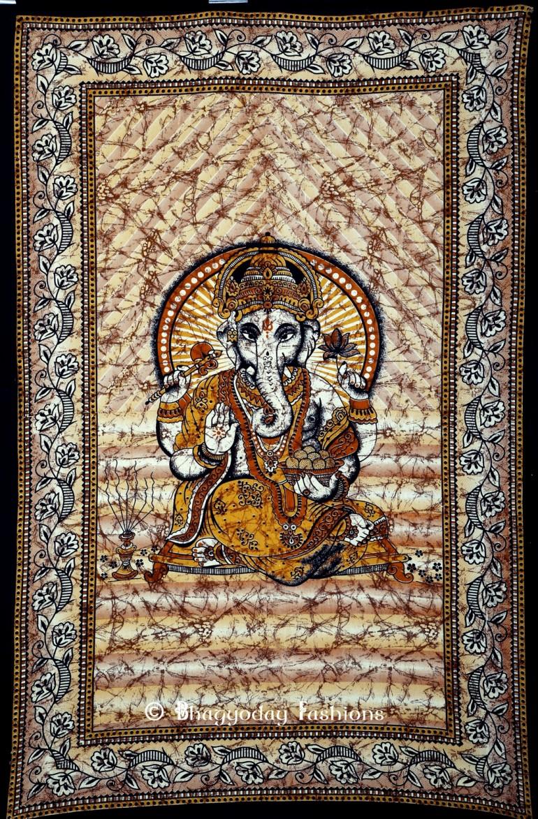 Brown Hindu God Ganesha Tapestry