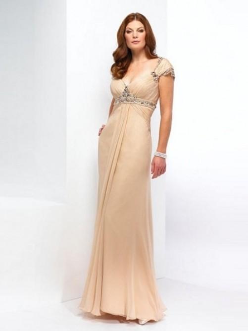 Mode A-Linie V-Ausschnitt Bodenlang Chiffon Perlen verziert Kleid – VickyDress