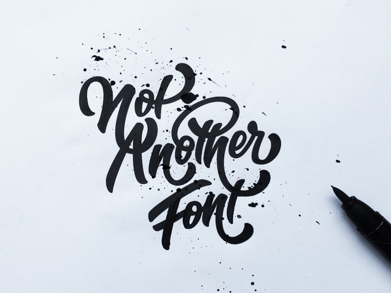 """I am not another font"" hand drawn typography by Jenna Bresnahan"