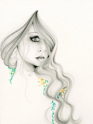 "Pencil Drawing Fantasy Art ""The Beauty Within"" an Original Pencild Drawing Fine art  ..."