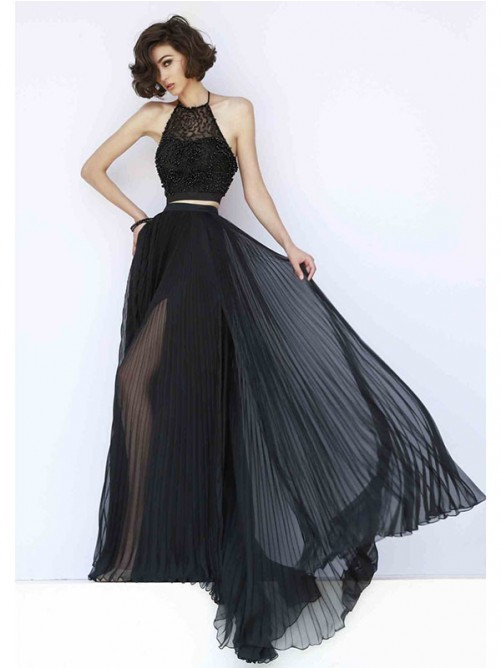 2016 two piece black prom dress