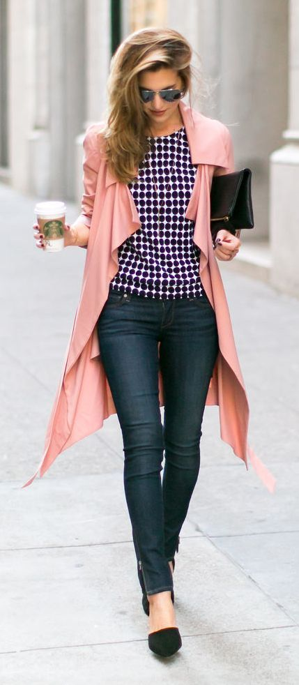 Pink Trench + Black & White | Inspired | Wear | Pinterest