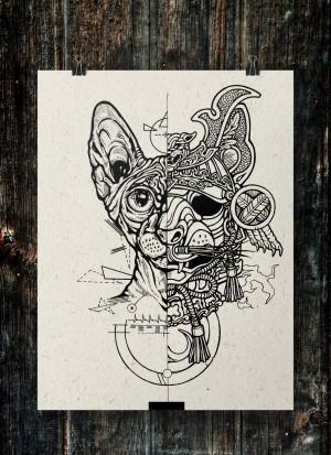 Samurai Cat, sketch by El