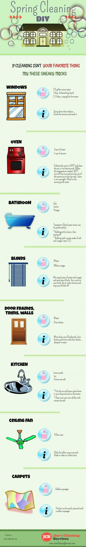 A short infographic about Spring Cleaning. Created by Jim's Cleaning Services.