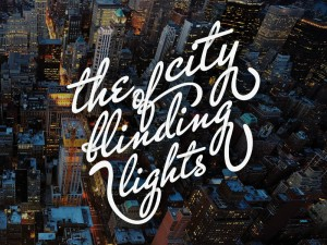 "T shirt print ""the city of blinding lights"" inspired by the U2 song"