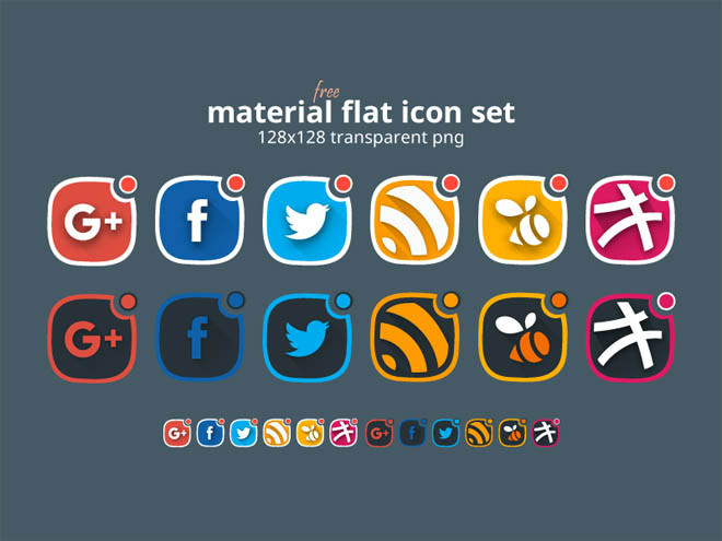 Free Material Flat Social Icons