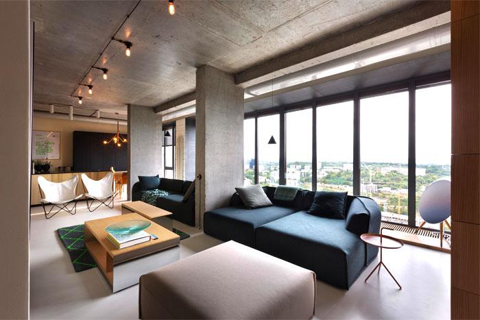 Fresh Green Plants, Copper and Concrete at Apartment Designed by Olga Akulova – InteriorZine