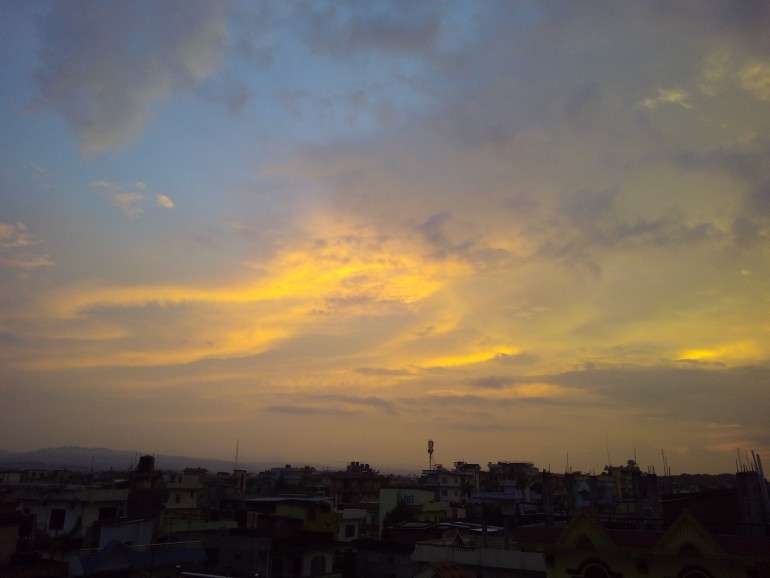 view of sky which is orange seem sweet..though it is not captured from professional camera.