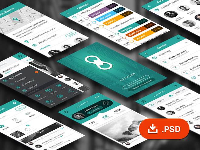 Lithium – Free Social Network UI Kit PSD