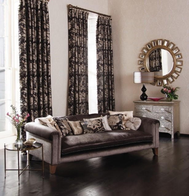 Modern Curtain Ideas for Living Room with Round Wall Mirrors