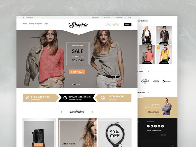 Shophia – Free Elegant eCommerce PSD Template