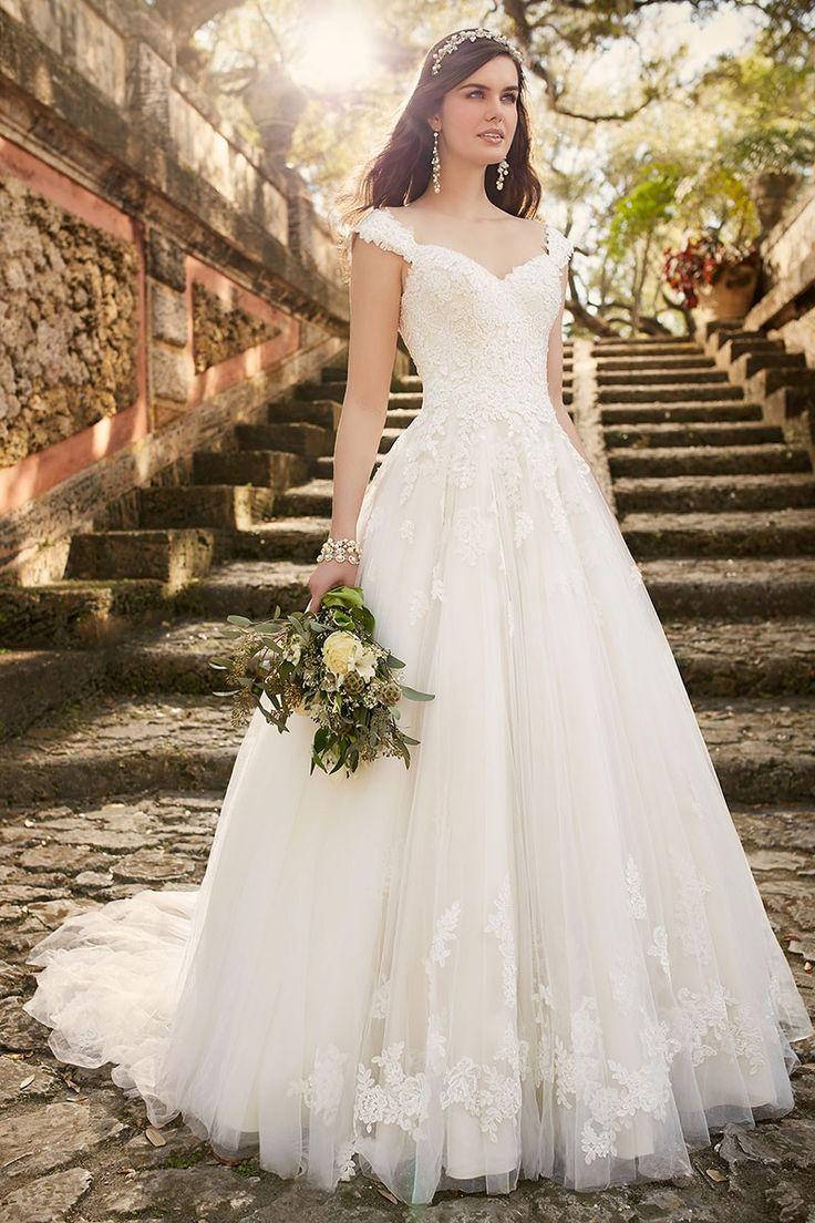 White Cap Sleeves Zipper Tulle Lace Applique Wedding Dresses
