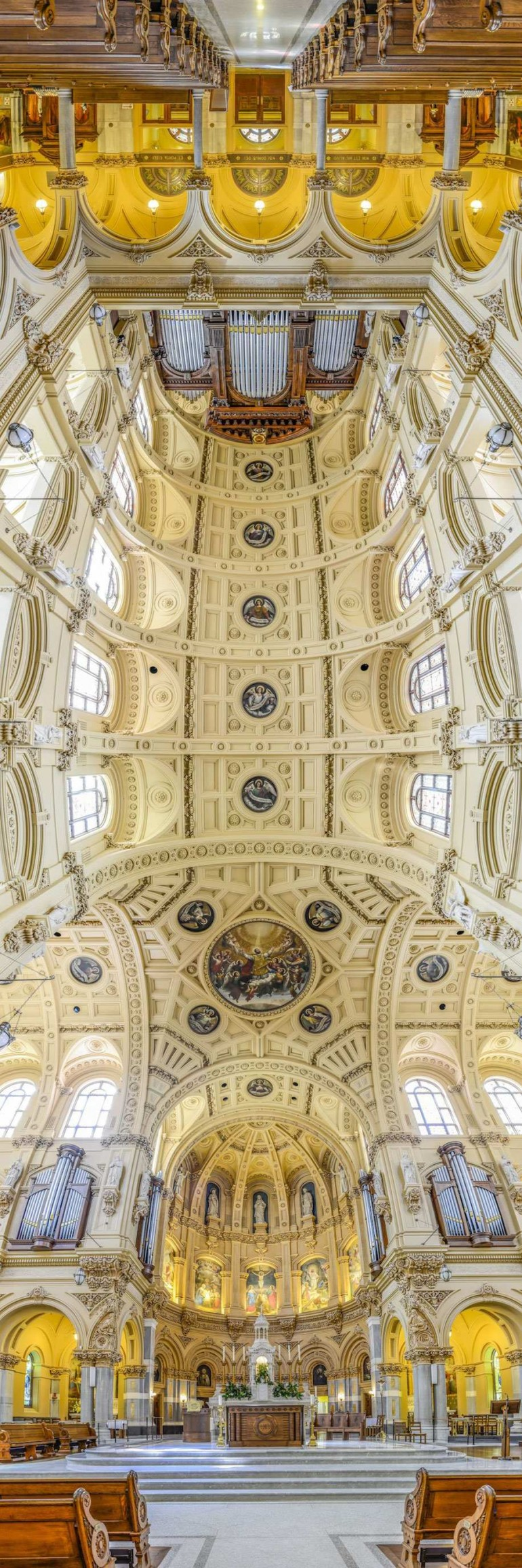 Vertical Panoramic Interiors Of New York Churches