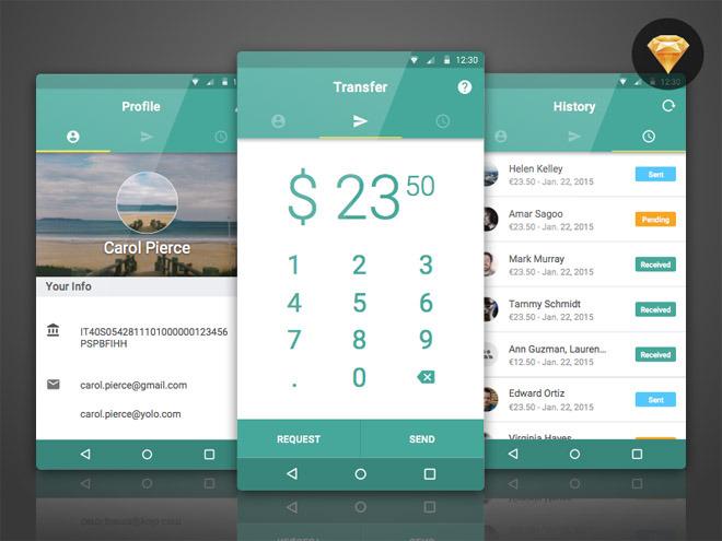 Banktag – Free Material UI Kit (Sketch)