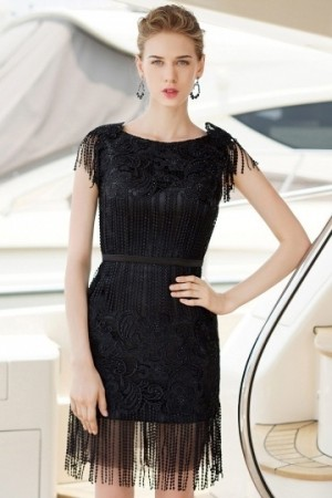 Bateau Lace Tassel Sleeveless Little Black Dress- AU$ 359.83 – DressesMallAU.com