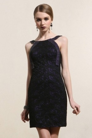 Bateau Sheath Beading Short Black Cocktail Dress- AU$ 294.60 – DressesMallAU.com
