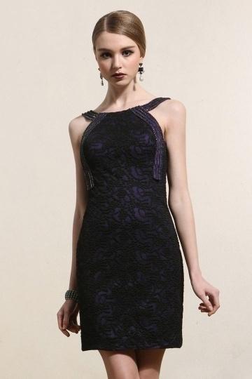 Bateau Sheath Beading Short Black Cocktail Dress- AU$ 294.60 – DressesMallAU.com