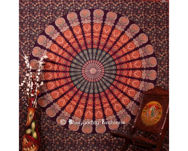 Beautiful Purple Mor Pankh Indian  Tapestry