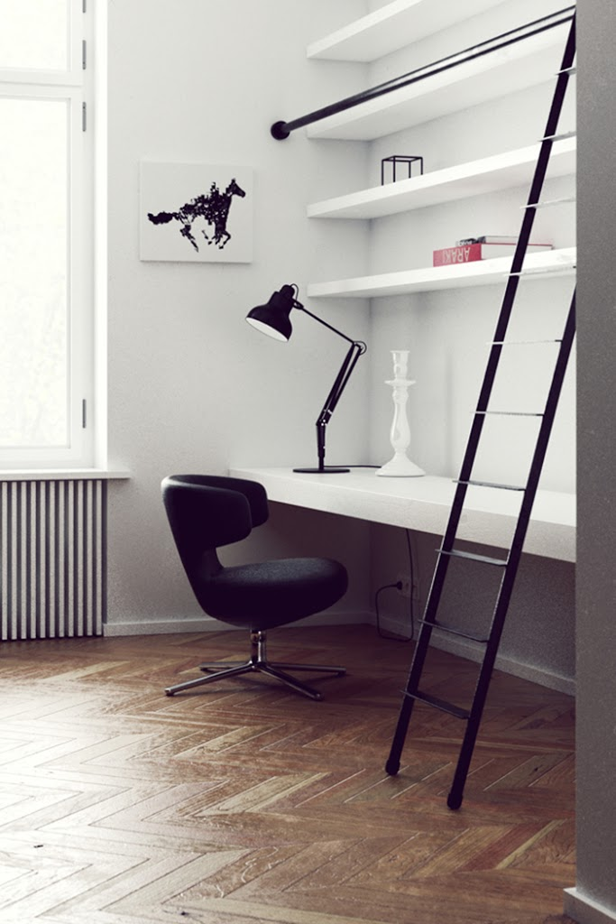 Black and white interior – Neat workspace