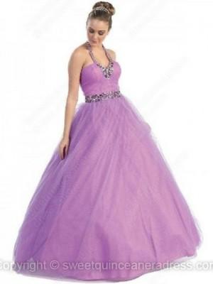 Halter Ball Gown Tulle Taffeta Floor-length Rhinestone Quinceanera Dresses
