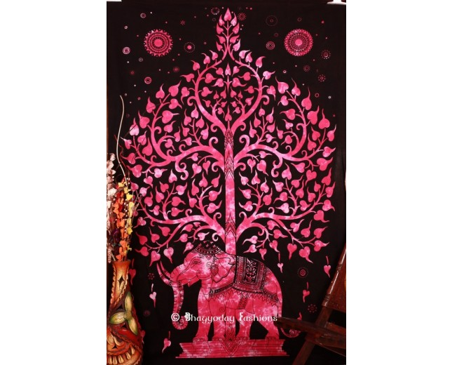 Pink Hippie Elephant Tree Tapestry Wall Hanging