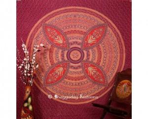 Maroon Flower Mandala Tapestry