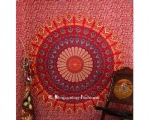 Red Boho Mandala Tapestry in Mirchi Kali