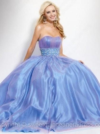 Strapless Princess Tulle Elastic Woven Satin Floor-length Rhinestone Prom Dresses
