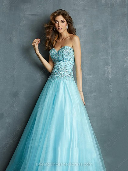 Sweetheart Princess Satin Tulle Floor-length Rhinestone Prom Dresses