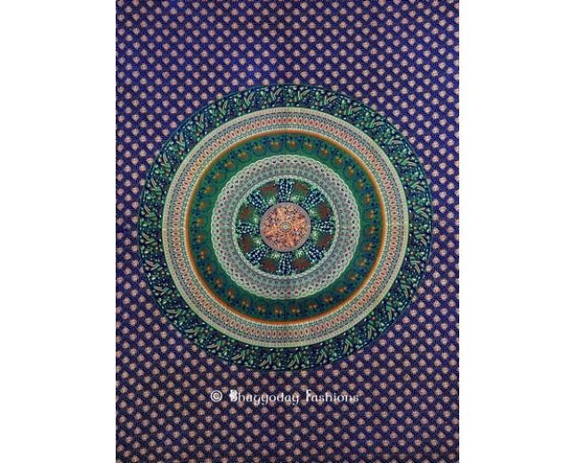 Blue Round Mandala Tapestry Wall Hanging
