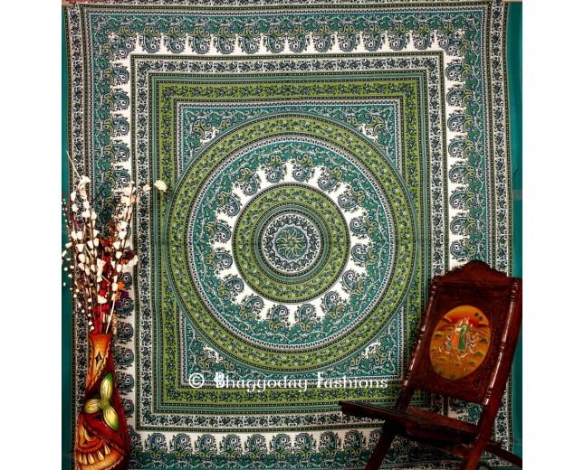 Green Hippie Mandala Tapestry