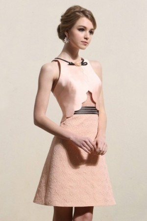 Chic Jewel Satin Sleeveless A-line Pink Cocktail Dress- AU$ 216.33 – DressesMallAU.com