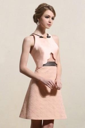 Chic Jewel Satin Sleeveless A-line Pink Cocktail Dress- AU$ 216.33 – DressesMallAU.com