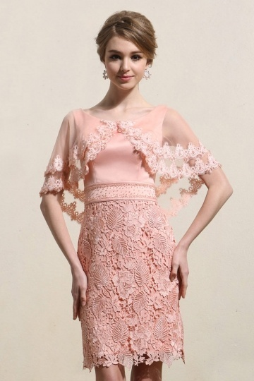 Chic Scoop A-line Lace Short Pink Cocktail Dress- AU$ 346.78 – DressesMallAU.com