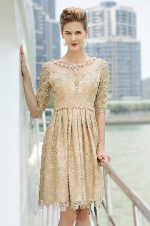 Chic Scoop Beading Half Sleeves Lace Formal Dress- AU$ 520.72 – DressesMallAU.com