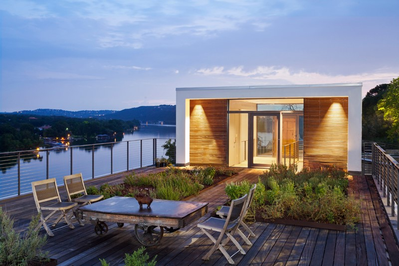 Cliff Dwelling: a residential renovation with a cliff-side view over Lake Austin