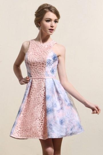 Color Block Lace Sleeveless A-line Short Formal Gown- AU$ 333.74 – DressesMallAU.com