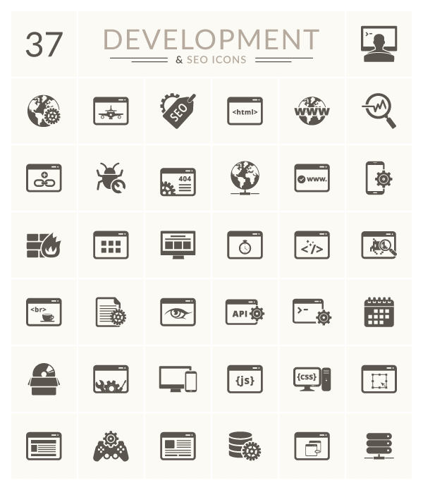 37 Development & SEO Vector Icons