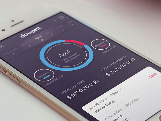 Dompet – Finance App UI (Sketch)