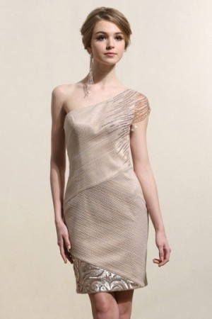Elegant One Shoulder Sheath Champagne Short Formal Dress- AU$ 477.24 – DressesMallAU.com