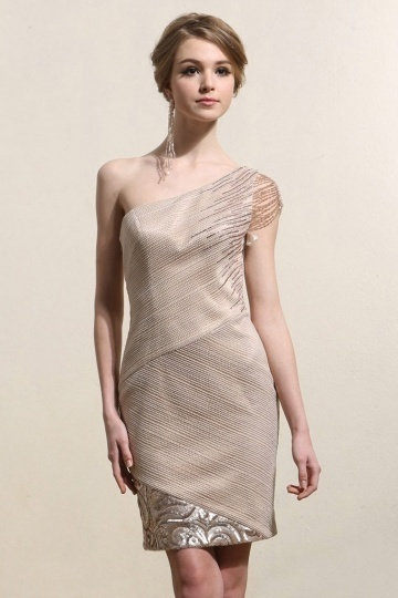 Elegant One Shoulder Sheath Champagne Short Formal Dress- AU$ 477.24 – DressesMallAU.com