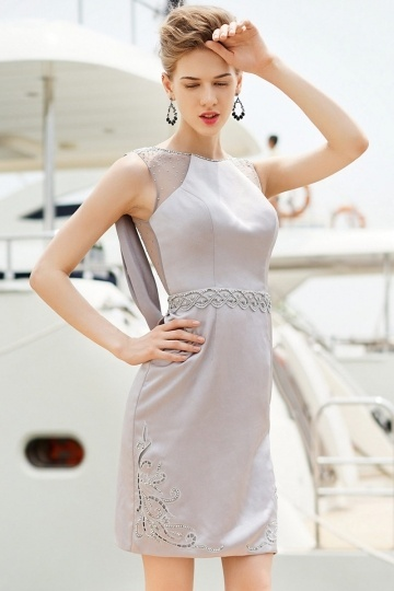 Elegant Satin Bateau Beading Gray Formal Dress- AU$ 294.60 – DressesMallAU.com