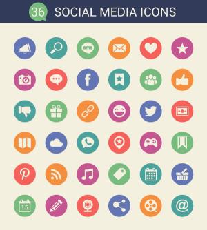 36 Flat Social Media Icons