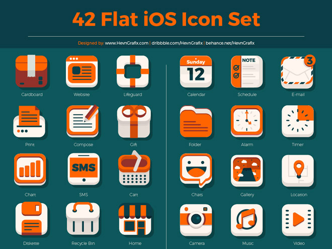 Free Flat iOS Icon Set