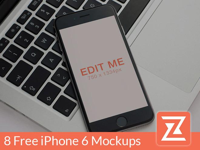 8 Free Realistic iPhone 6 Mockup PSD