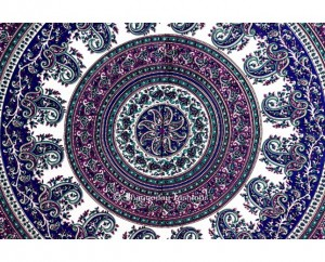Grey and Blue Tapestry in Round Beach Towel