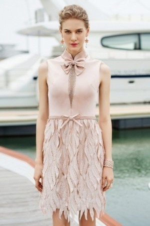 High Neck Sleeveless Satin A-line Short Formal Dress- AU$ 403.31 – DressesMallAU.com