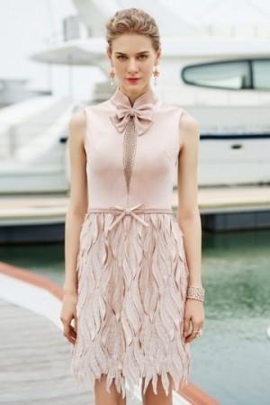 High Neck Sleeveless Satin A-line Short Formal Dress- AU$ 403.31 – DressesMallAU.com
