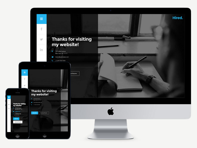 Hired : Free Personal Resume WordPress Theme